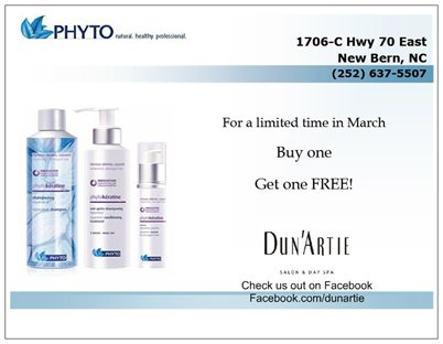 Sale on Phyto Hair Products Post Card Mock-up made for Dun'Artie Salon & Day Spa in New Bern, NC
