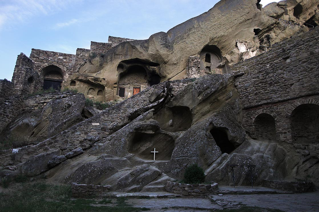 David Gareja is a rock-hewngeorgian Orthodox monastery complex located in the Kakheti. The complex includes hundreds of cells, churches, chapels, refectories and living quarters hollowed out of the rock face|EASTERN GEORGIA