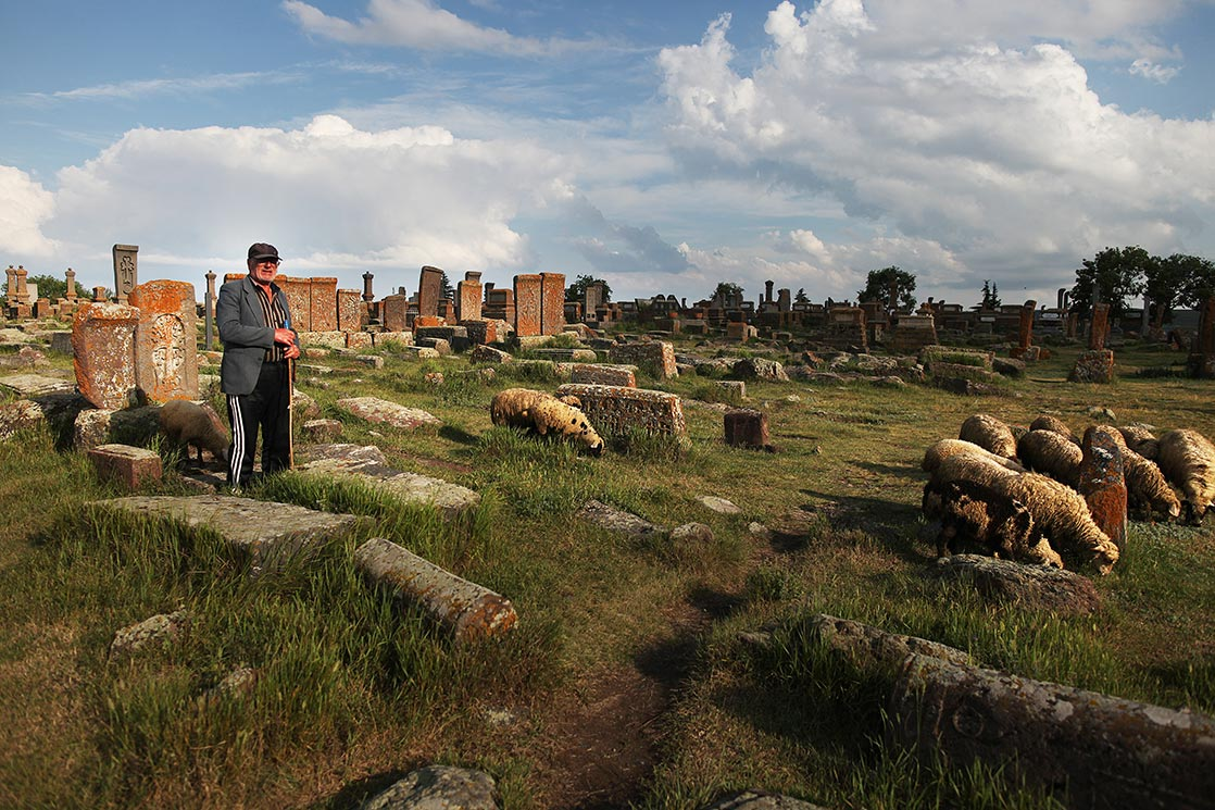 Noratus cemetery   has the largest cluster of khachkars in the republic of Armenia. It is currently the largest surviving cemetery with khachkars following the destruction of the khachkars in Old Julfa by the government of Azerbaijan| ARMENIA