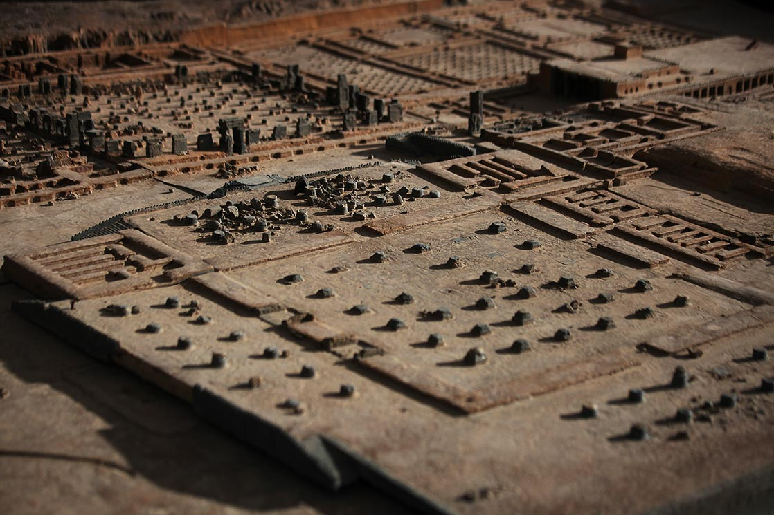 Model of the ancient archaeological site of  Persepolis . It was the ceremonial capital of the Achaemenid Empire (550-330 BC) | The ruins of this capital are situated 70km northeast of  Shiraz  | IRAN