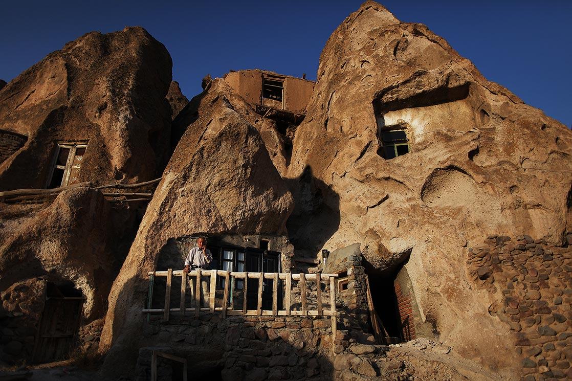 "Kandovan  | The troglodyte homes are locally called ""Karaan"". Karaans were cut into the Lahars (volcanic mudflow or debris flow) of Mount Sahand 