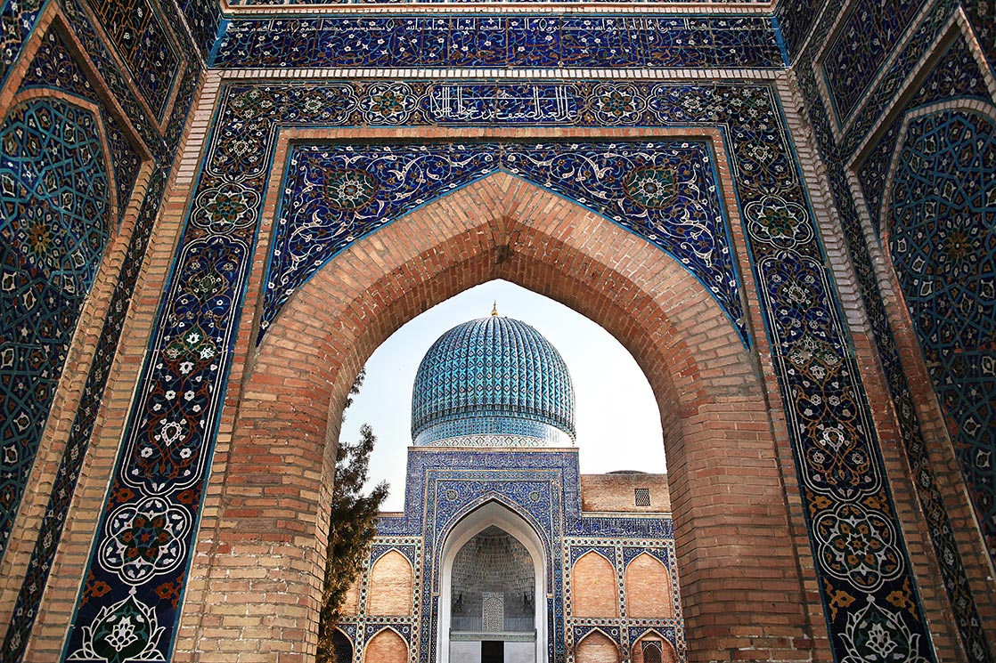 The  Guri Amir  (1403) is a mausoleum of the Asian conqueror  Tamerlane  (also known as  Timur ) in Samarkand. It occupies an important place in the history of Turkic-Persian Architecture as the precursor and model for later great Mughal architecture tombs, including Humayun's Tomb in Delhi and the Taj Mahal in Agra, built by Timur's Persianised descendants, the ruling Mughal dynasty of North India | UZBEKISTAN