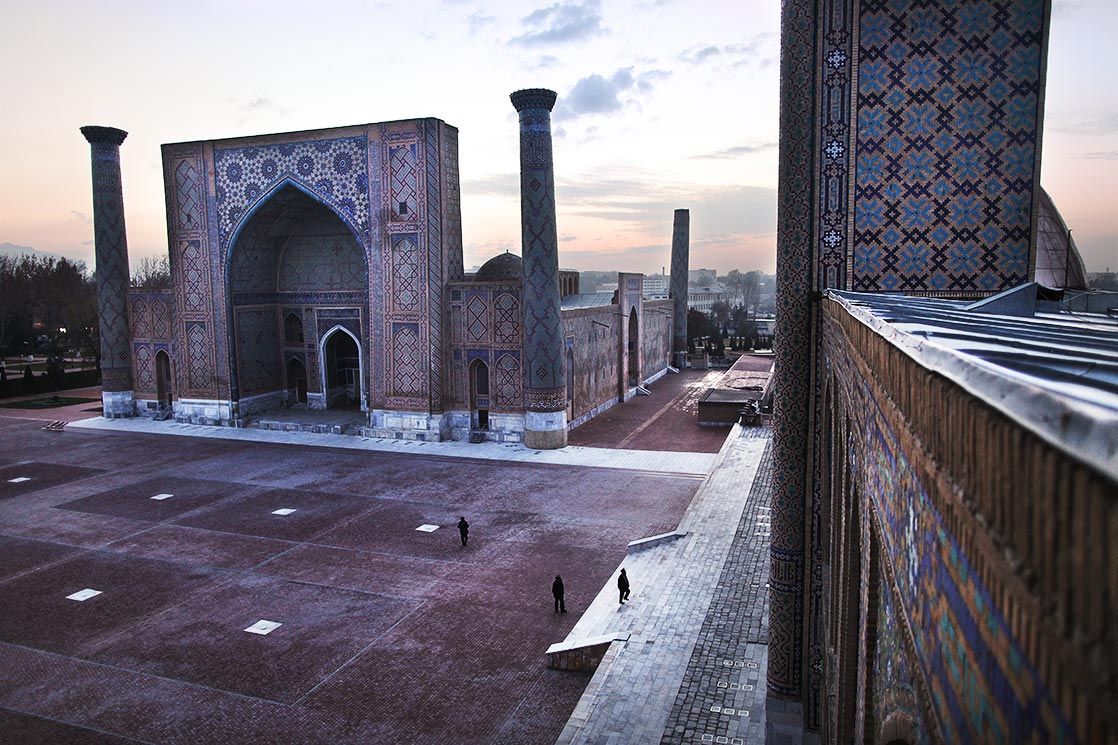 "Registan   (""Sandy place"") was the heart of the ancient city of   Samarkand   of the Timurid dynasty 