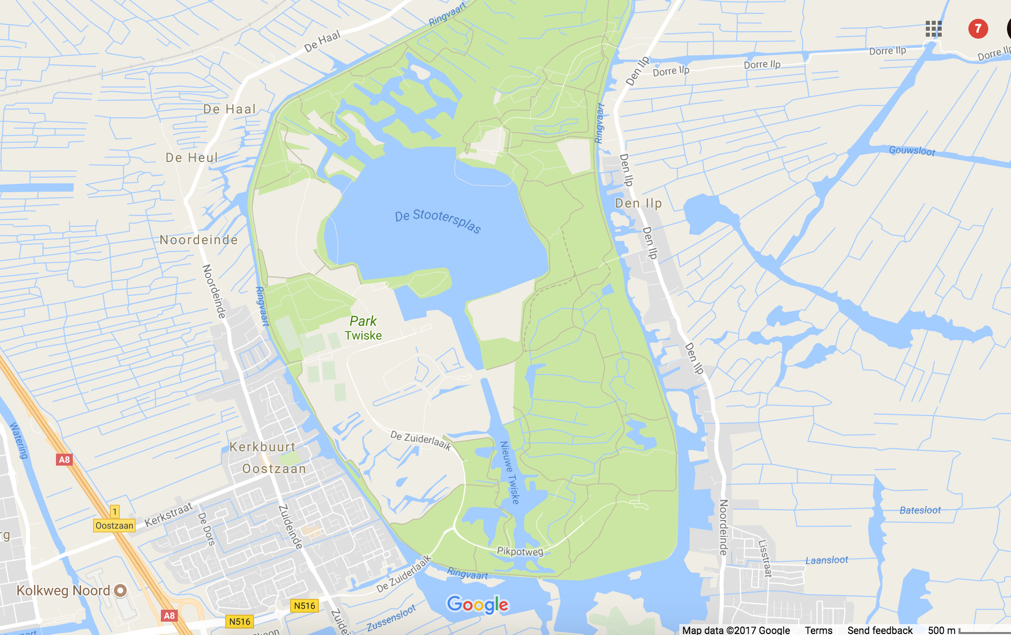 It's just North of Amsterdam about 16km. (10 miles)