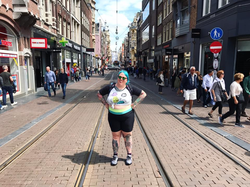 Day One! Standing in one of the busiest streets in Amsterdam.