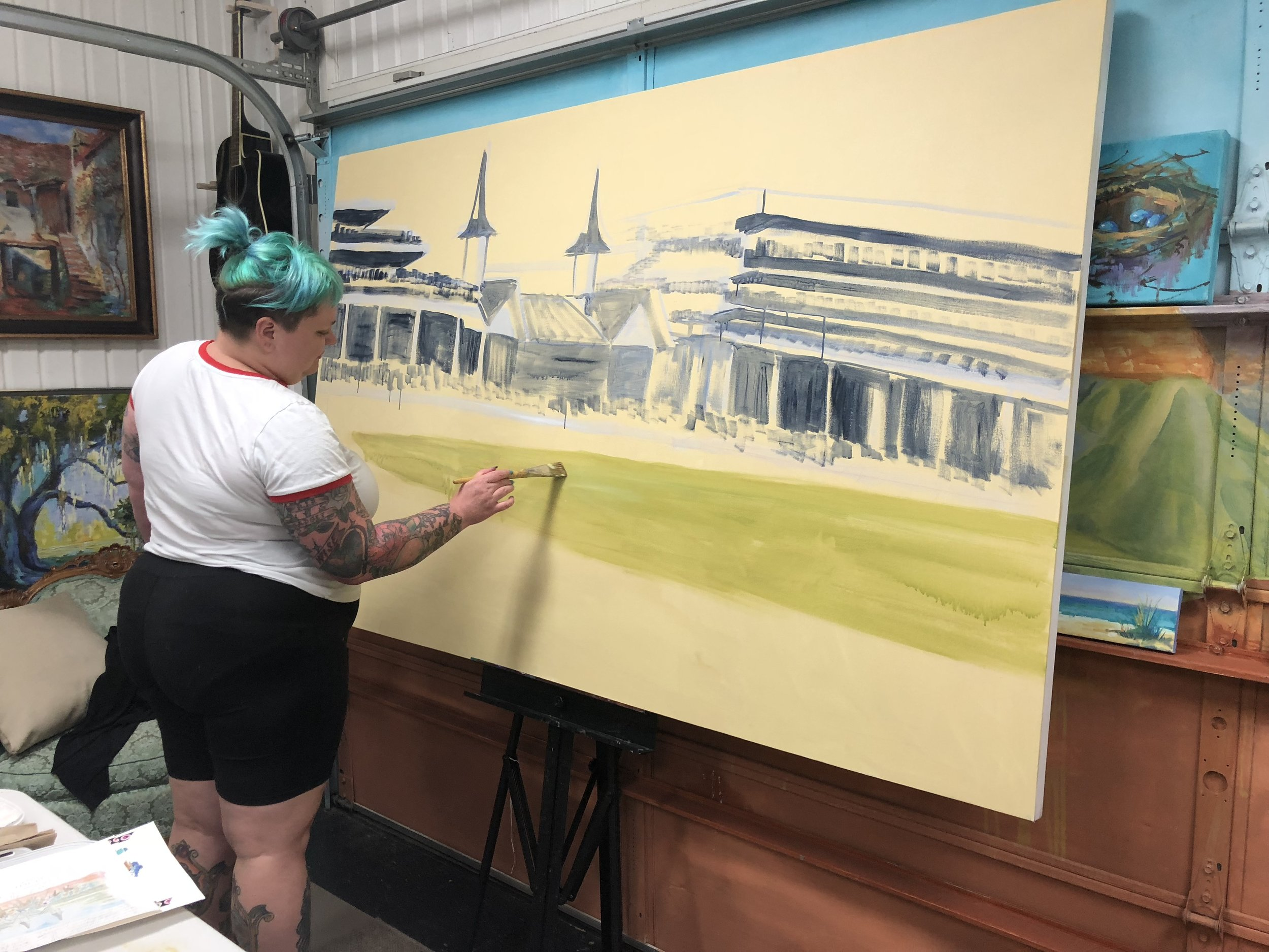 Working on a huge commissioned painting of the Kentucky Derby