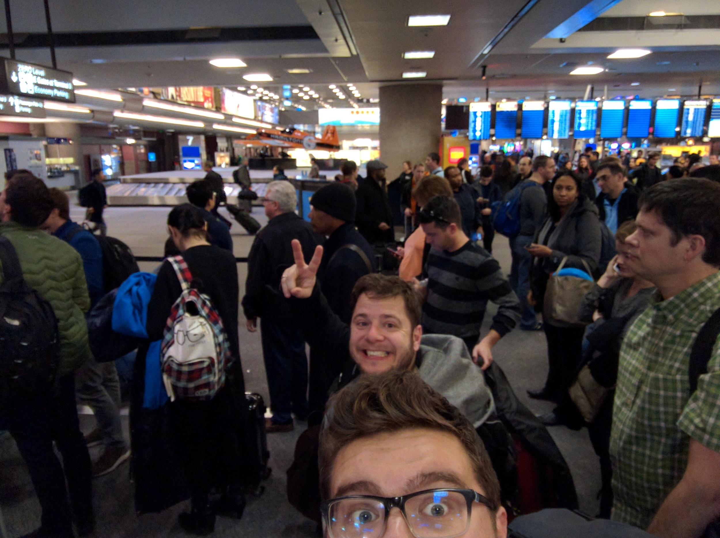 CES Check-In at Las Vegas airport - Flight was delayed 3hr due to rain in the desert