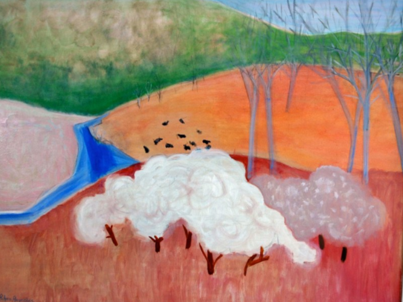 088 Blue River & Apple Blossoms, 1980, oil, 36x48 in.