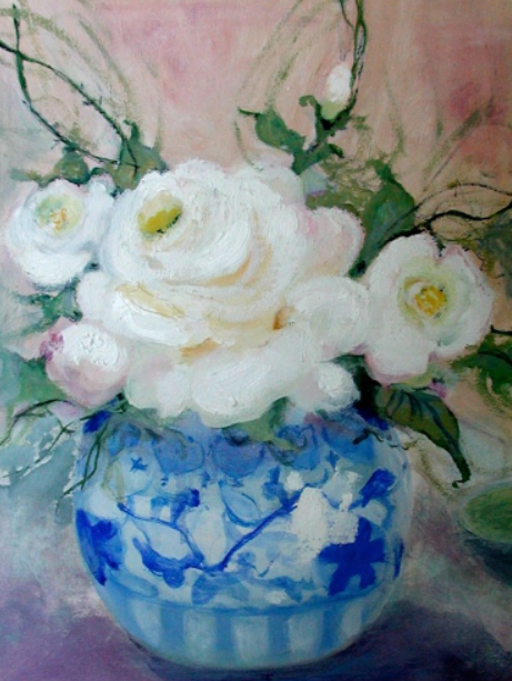 101 White Roses in a Blue and White Vase, 2000, oil, 12x9 in.