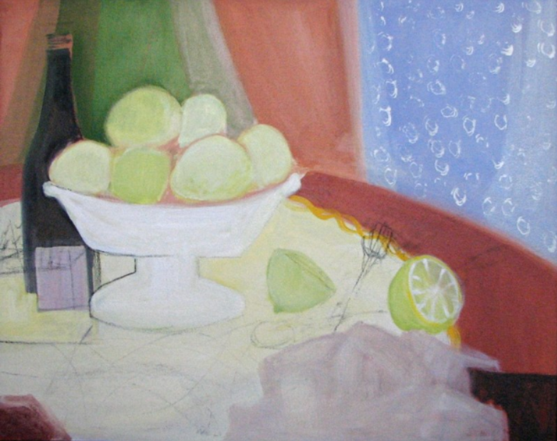 031 Green Apples in Compote, 2007, oil, 24x30 in.