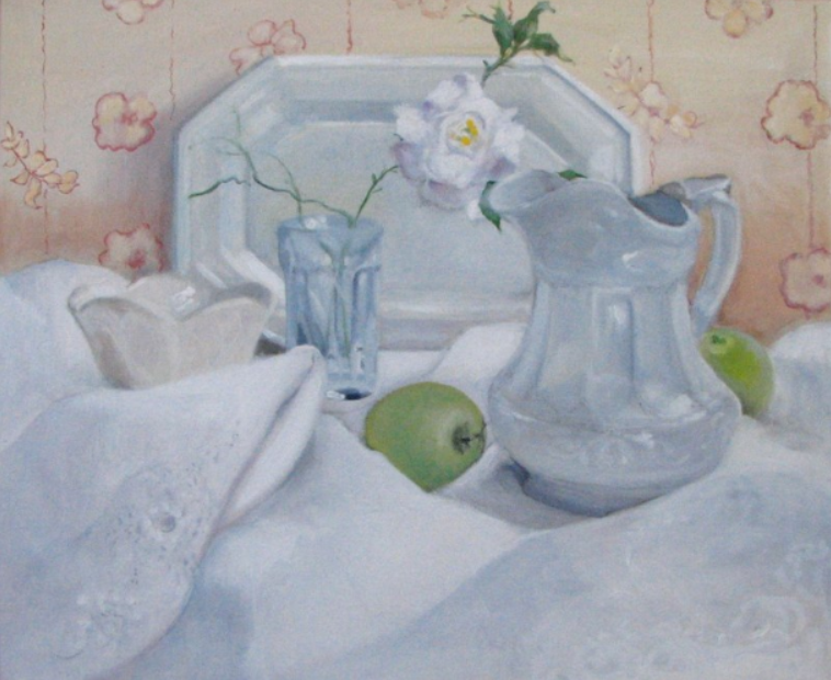 040 Still Life with White Rose, 1990, oil, 20x24 in.