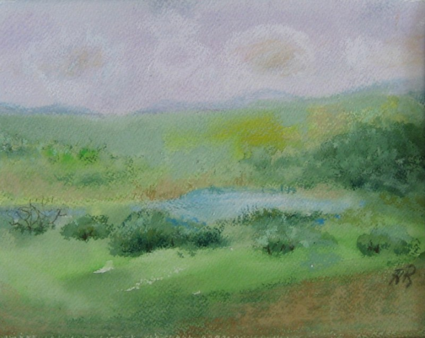 053 Pasture and Pond (Ode to Elissa Gore), 2007, watercolor & oil pastel 8x12 in.