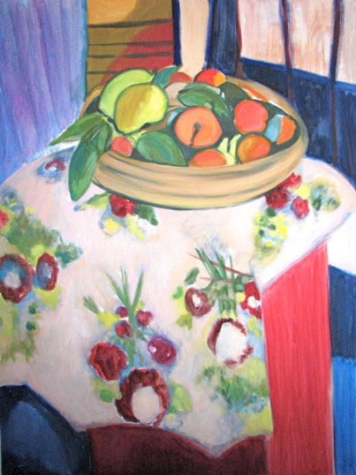 012 Still Life with Oranges (Ode to Matisse), 1990, oil, 48x36 in.