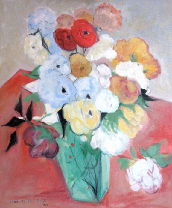 076 Still Life: Japanese Vase with Roses and Anemones (Ode to Van Gogh), 200?, oil, 24x20 in.
