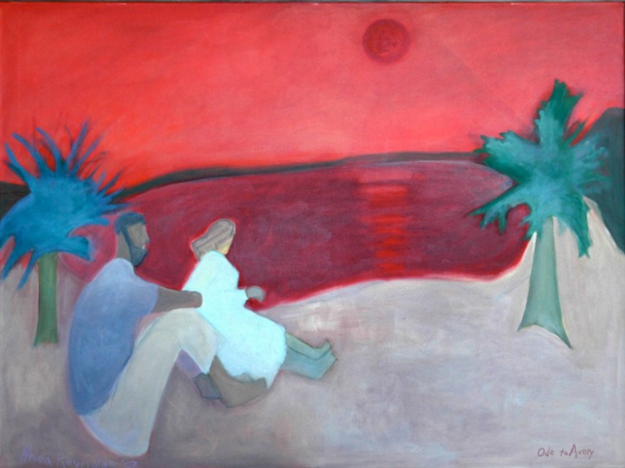 103 Red Sky (Ode to Avery), 2007, oil, 36x48 in.
