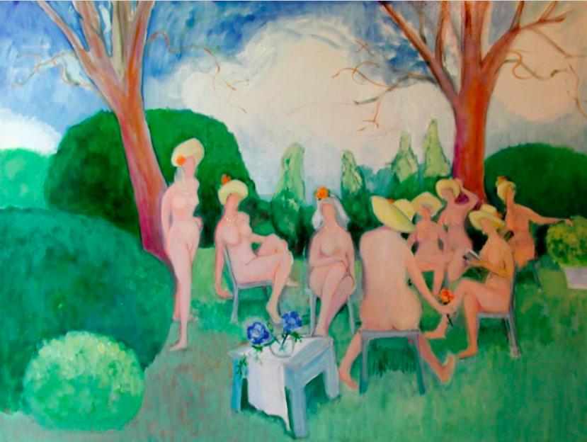 062 In Bob Cook's Garden, 2001, oil, 36x48 in..png