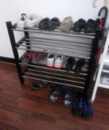 The wide range of shoes at a recent yoga class