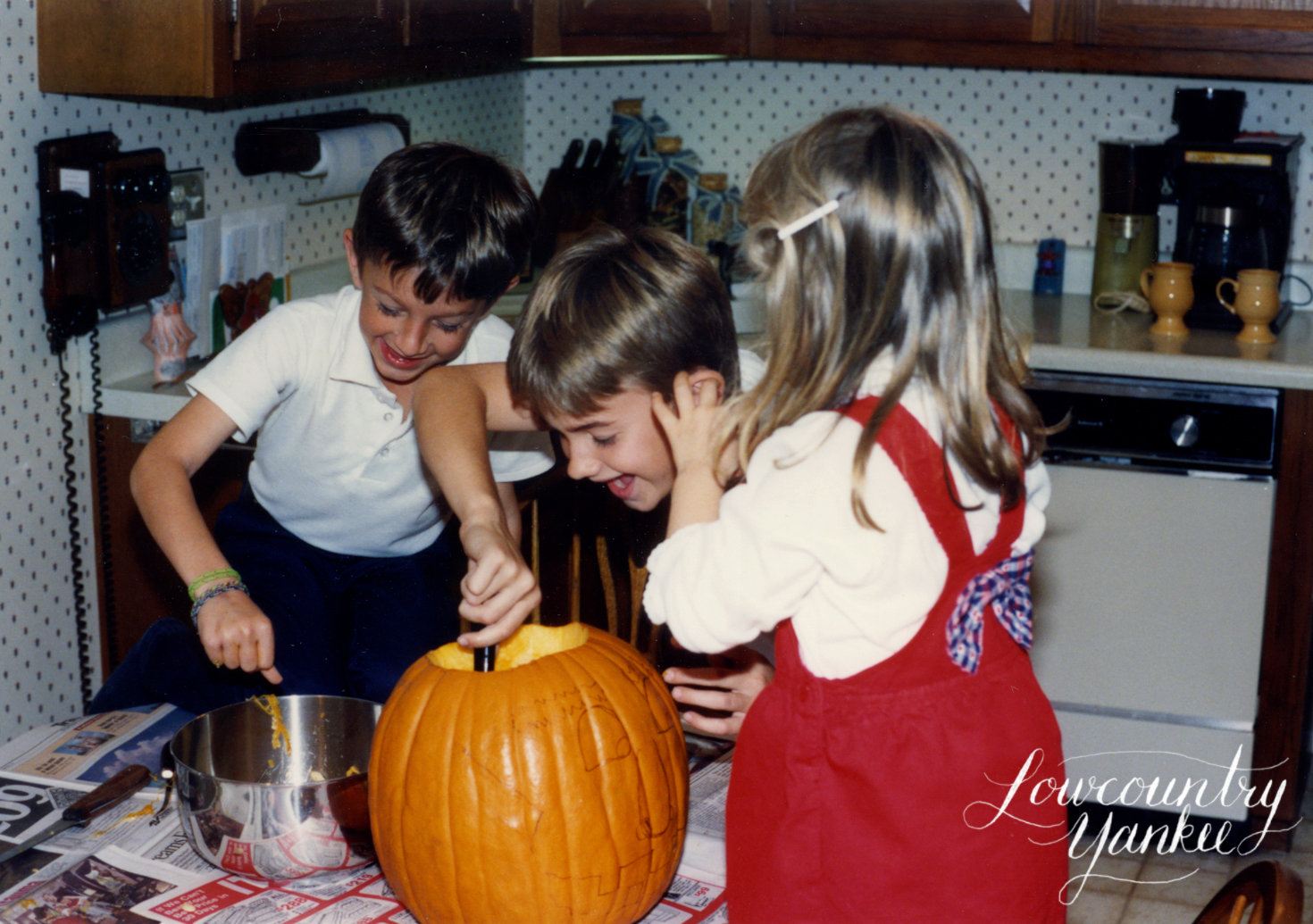 I'm not sure if I was getting pumpkin out of my brother's ear or if I was giving him a pumpkin wet willie. Either way, we were having fun!