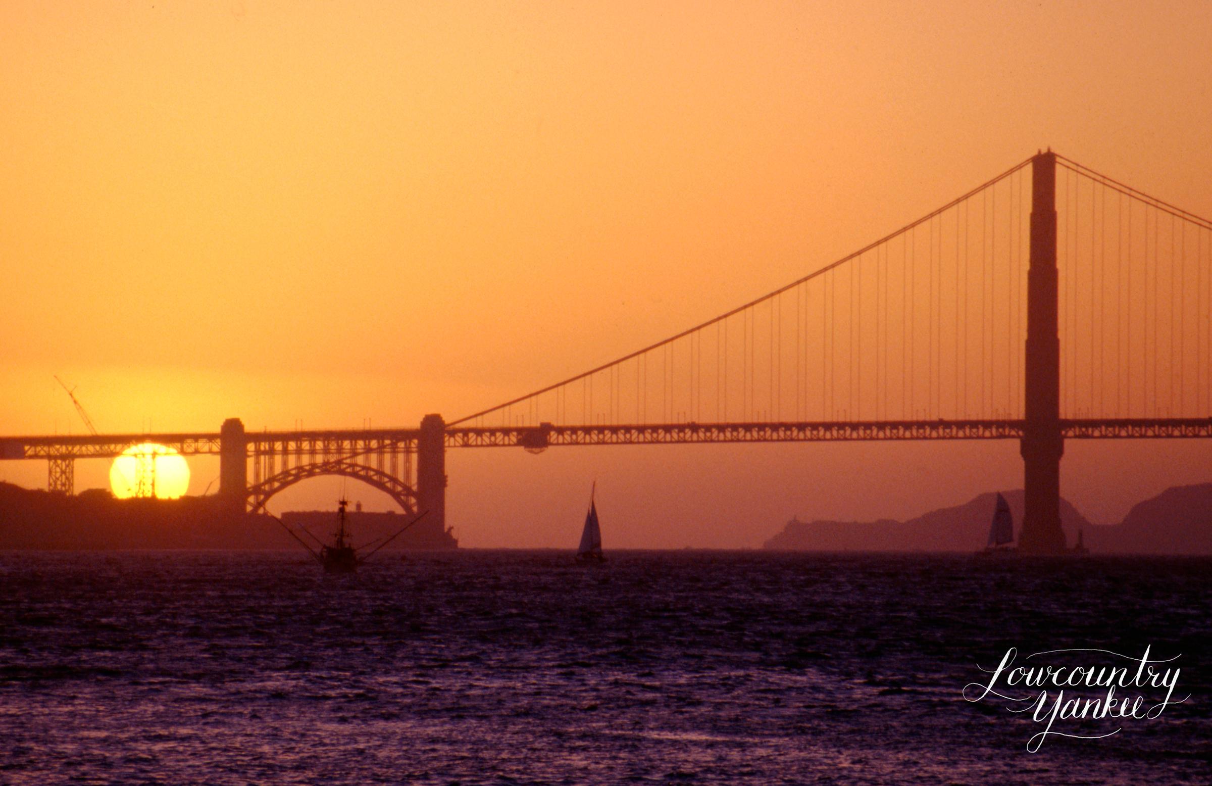 Golden Gate Bridge at sunset. San Francisco, CA 2005. Slide film.
