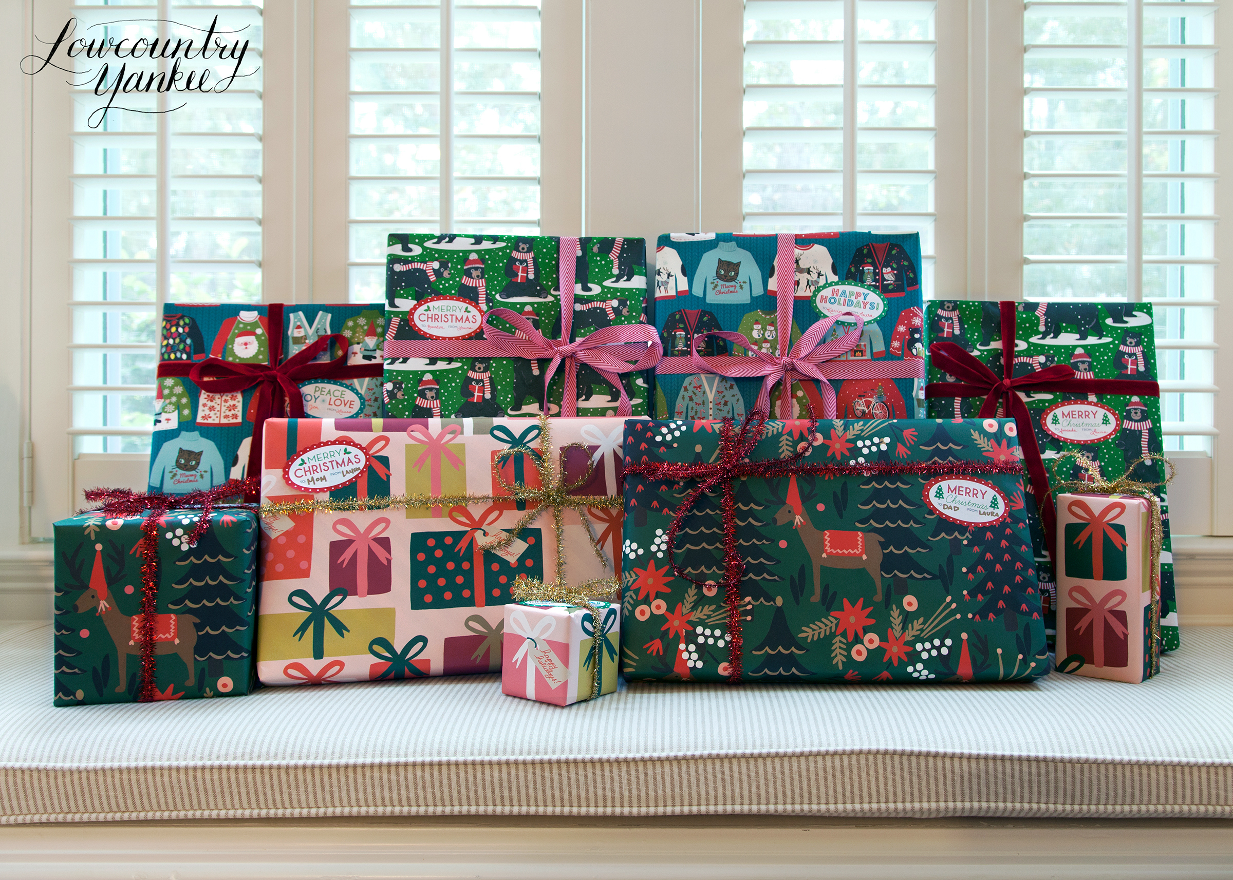Ugly sweaters, bears, and ribbon from Paper Source Pink packages and green reindeer from Rifle Paper Co.