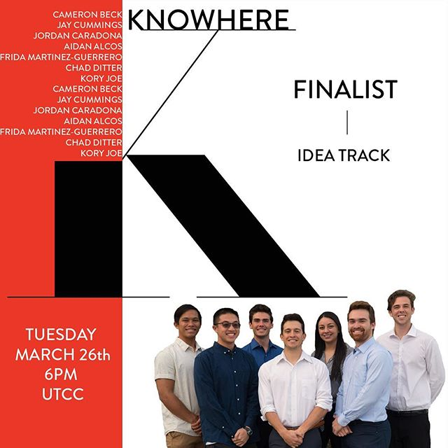 FINALIST FEATURE: KNOWHERE Edition. This team is taking on Idea Track with an app that lets you Knowhere to travel. Watch them pitch Tuesday, March 26th @ 6PM in UTCC❗️🌍🛫