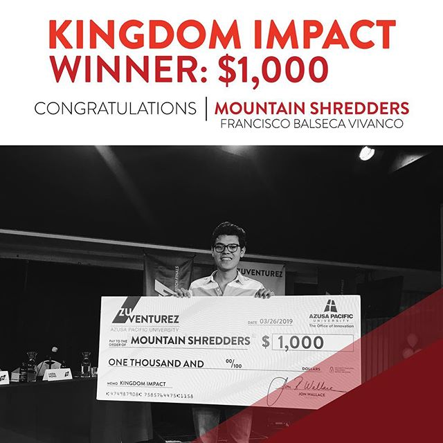 Three amazing WINNERS! Congratulations to Mountain Shredders, Rachelle Bains, and Knowhere! Francisco is the founder of Mountain Shredders and has been awarded $1,000 for his company's sole purpose being focused on expanding the Kingdom of God. Rachelle is part of the Threads of Hope team and she has been awarded $500 for being a valuable edition to the team! Knowhere has been awarded $500 simply because the audience absolutely loved them! #TheFinals