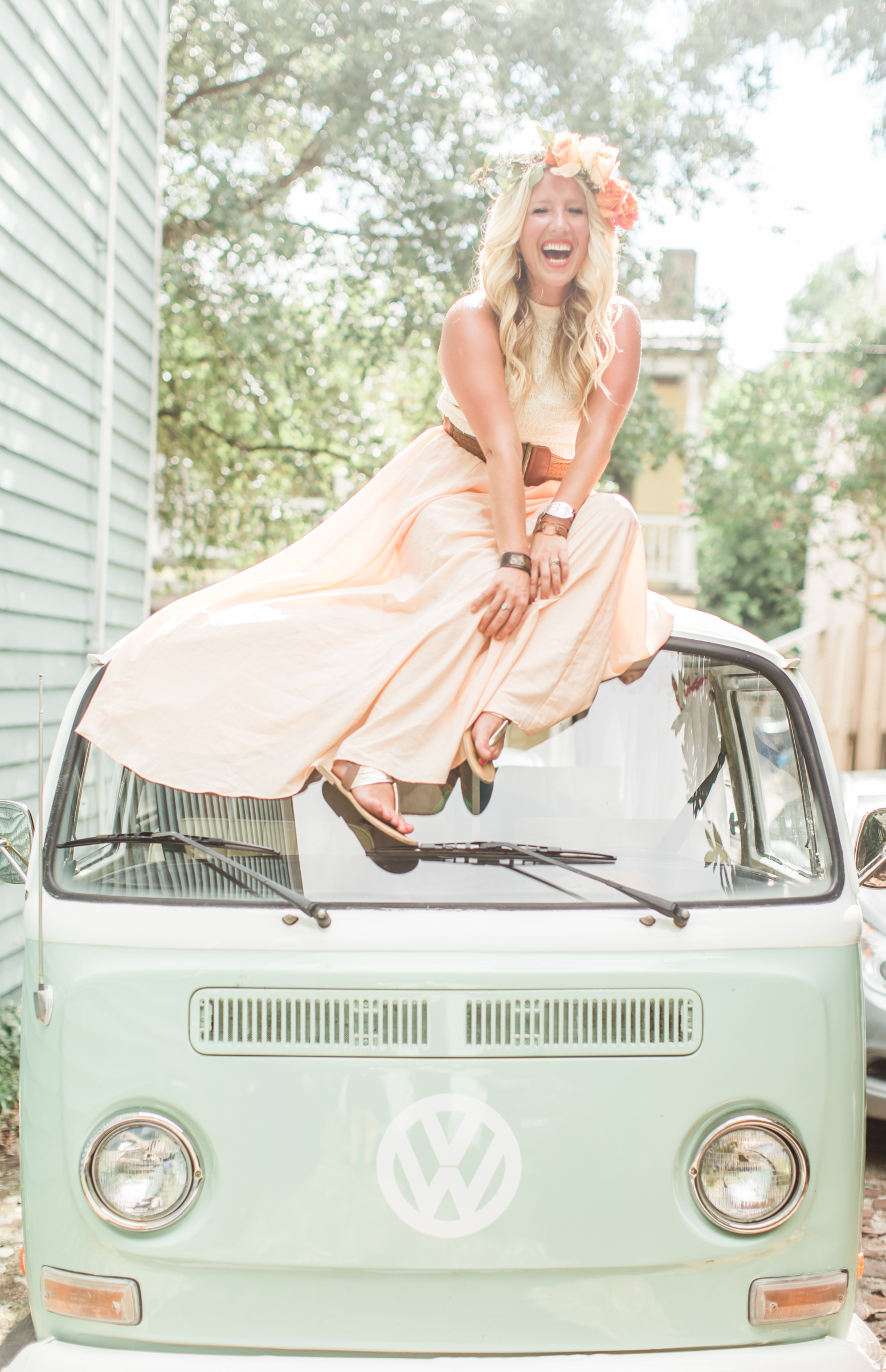 Model:  Kayla Maye  VW Bus:  Lil Photo Bus Co.  Floral Crown:  Ginger & Blooms