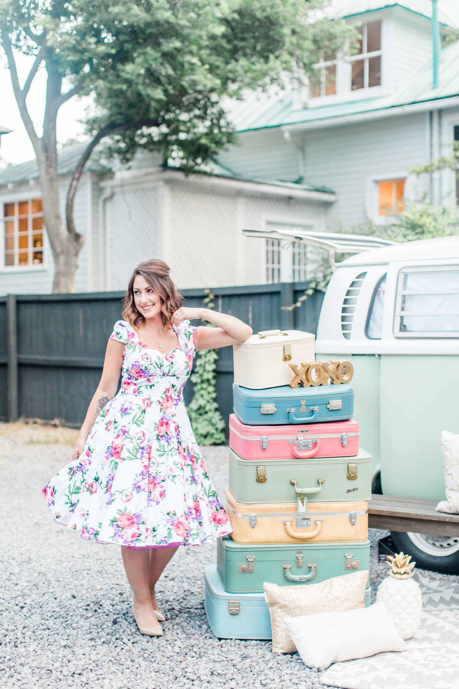 Model:  Kara Blakeman   Planner/Designer:   Raise the Ruth Events   VW Bus:   Lil Photo Bus Co   Rentals:   MadHatter Vintage   Hair & Makeup Artist:   Natty Contrera Artistry