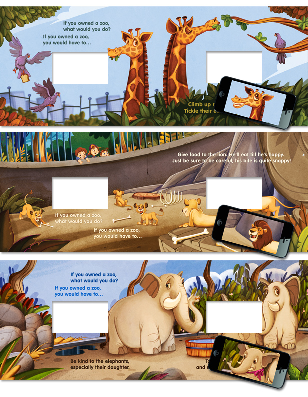 "Illustrations & app screen cut-outs from ""If You Owned A Zoo!"""