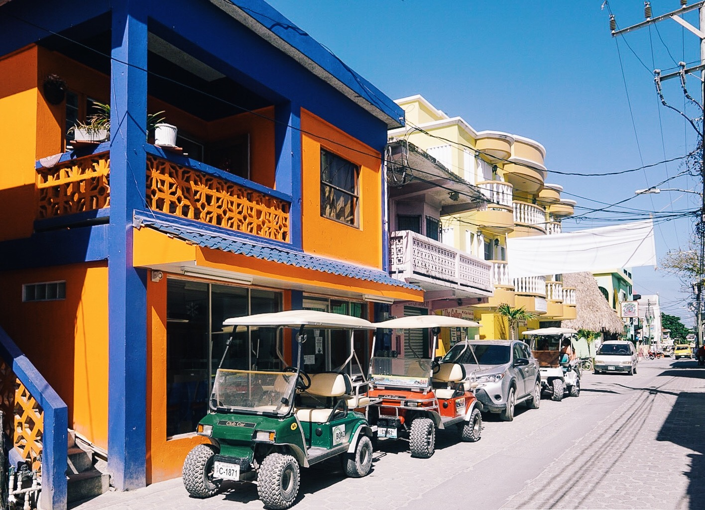 Golf carts are the primary mode of transportation around San Pedro. They're fun to drive and easy to rent for a day. This town probably has the lowest ratio of golf players to golf carts.