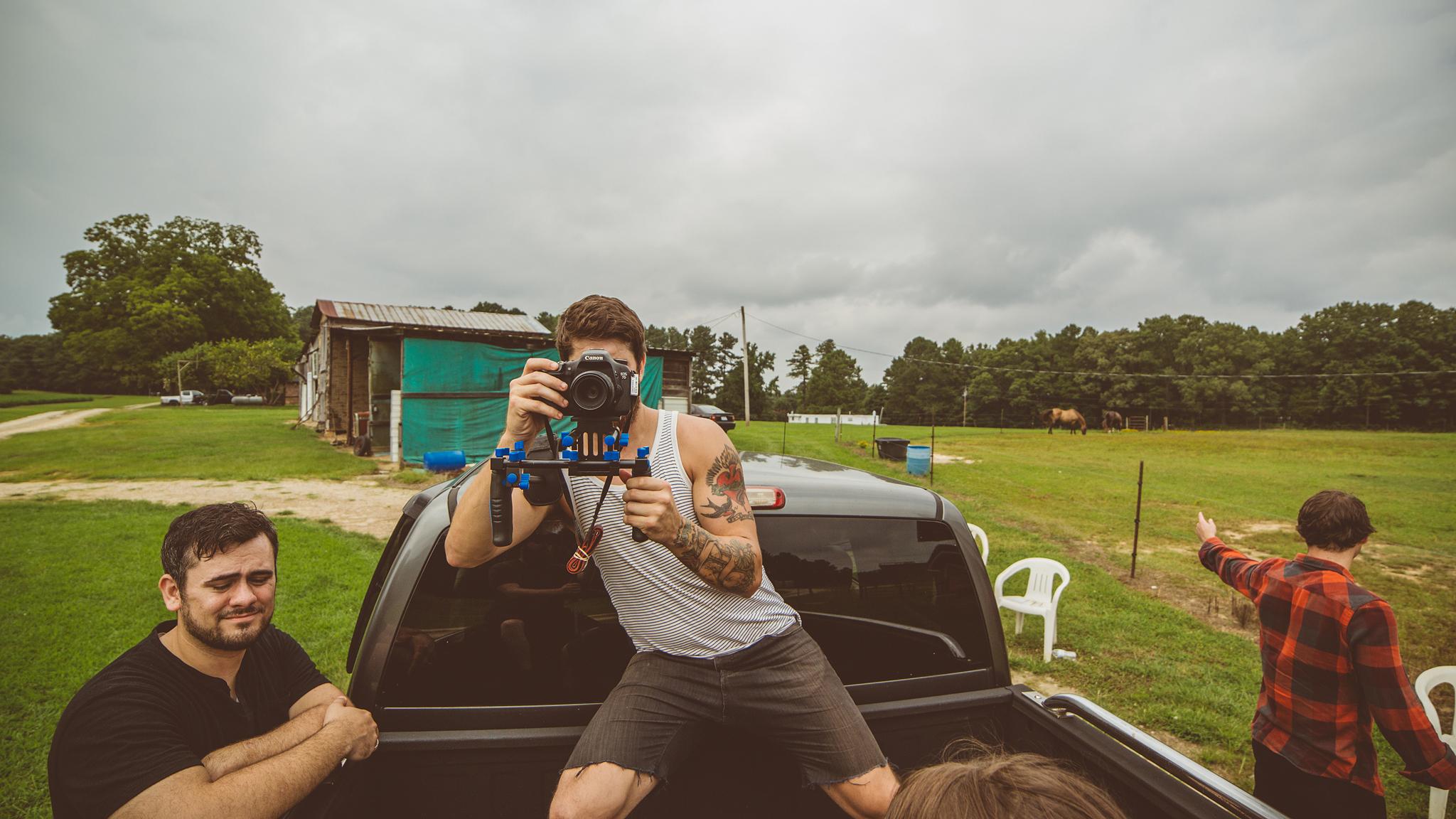 Shootin shots of shootin shots (Matt looks unamused while Blake directs us to the action) :)
