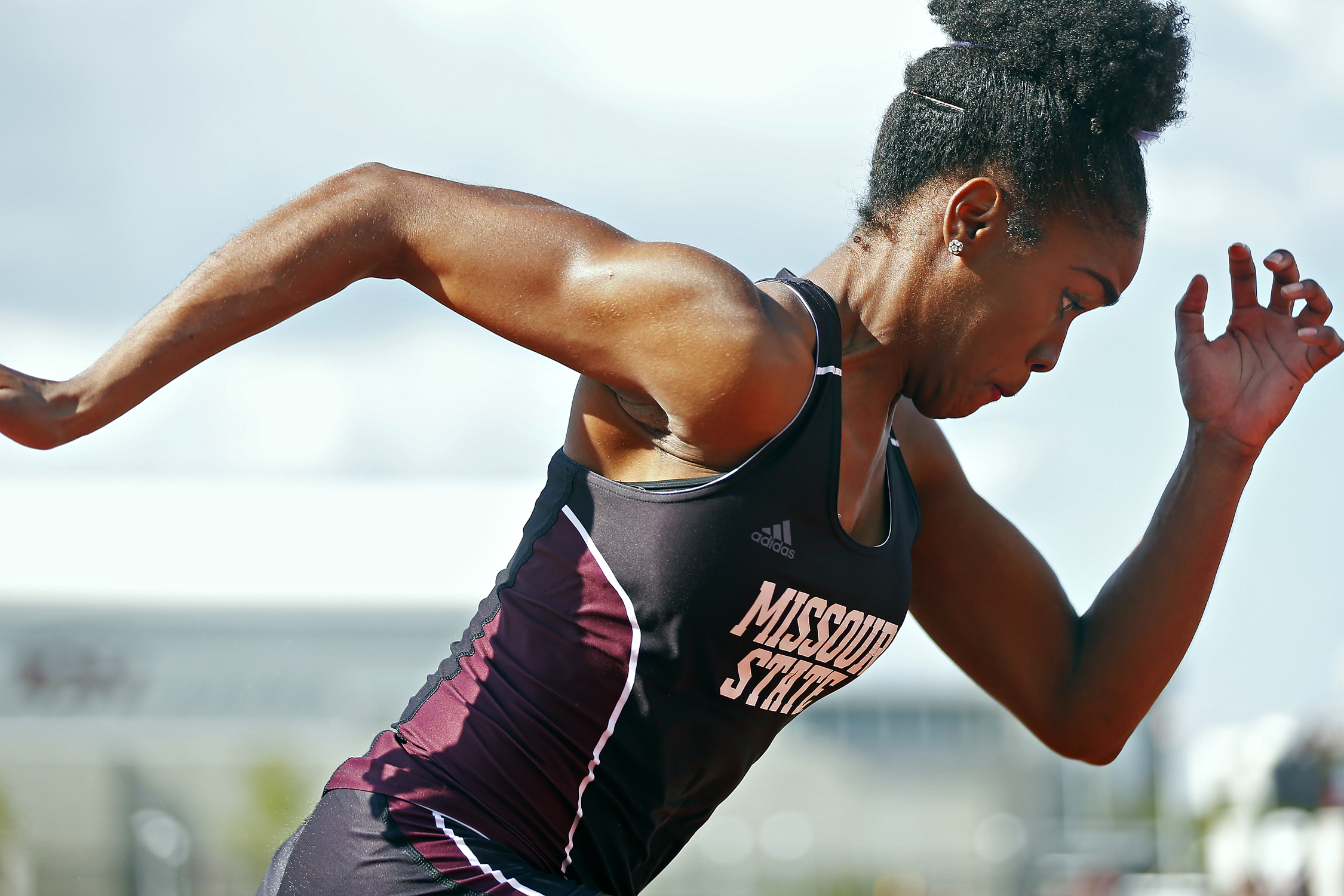 Missouri State Bears jumper Robiann Broomfield competes in the long jump event during the Missouri State Invitational track meet held at Betty and Bobby Allison South Stadium in Springfield, Mo. on April 22, 2016. Broomfield finished in first place for the event, having jumped 5.92 meters.