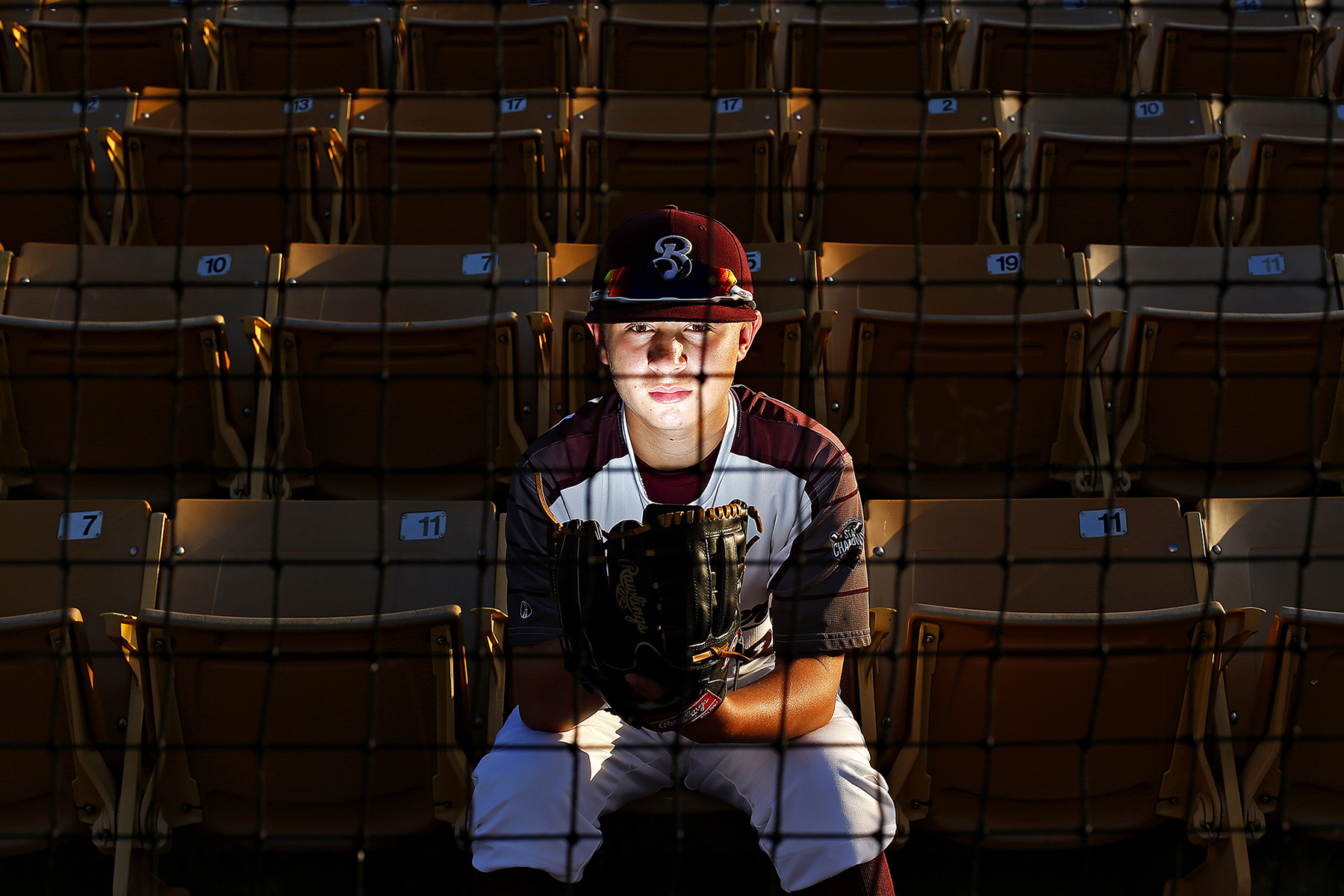 12-year-old baseball player Cross Kubik poses for a portrait at Kickapoo High School Baseball Field in Springfield, Mo. on Oct. 4, 2016. Kubik developed a tumor in his abdomen at 22-months-old. He was not expected to survive, but after treatment at St. Jude Children's Research Hospital he now lives a full life, which includes a promising future in baseball.