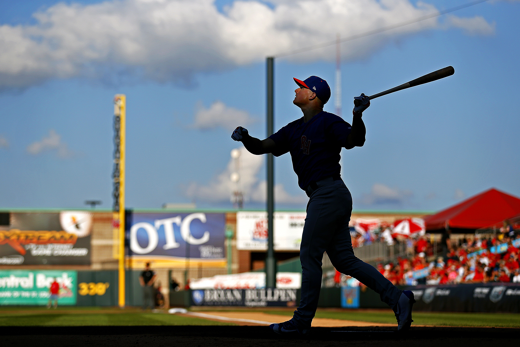 Midland RockHounds infielder Matt Chapman (7) looks at one of his hits during the Texas League All-Star Home Run Derby held before the league's All-Star Game at Hammons Field in Springfield, Mo. on June 28, 2016.