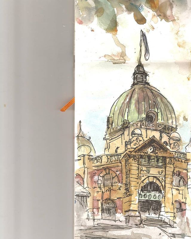 Watercolour of Flinders Street. Old