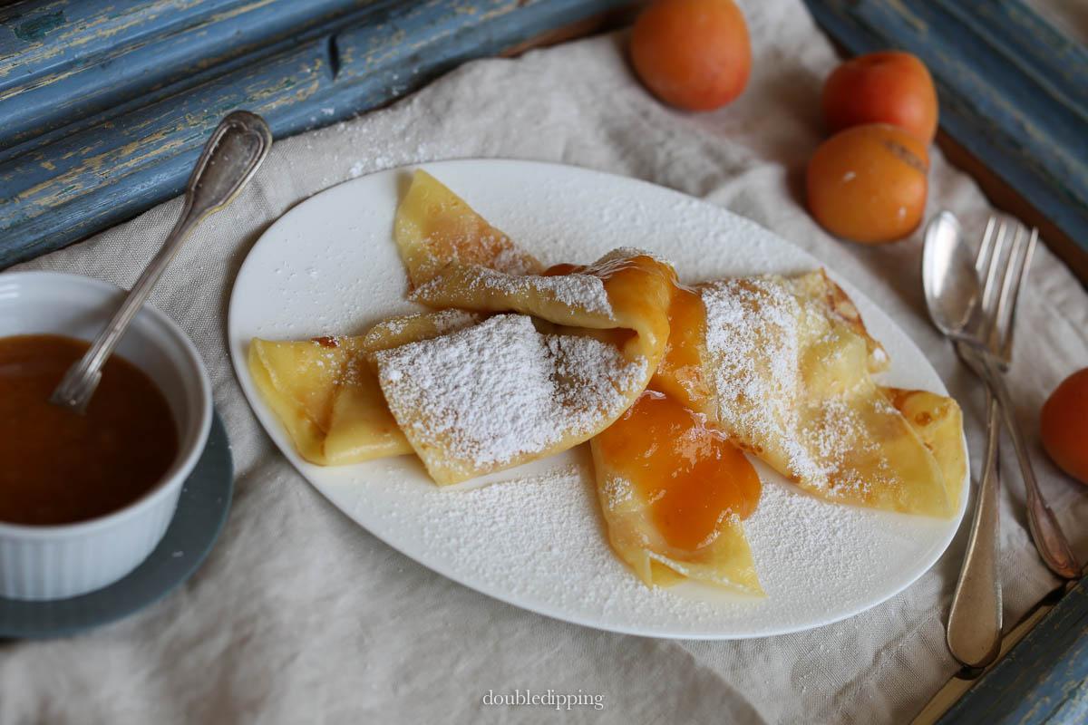 Palatschinken - Crepe like Pancakes with Jam