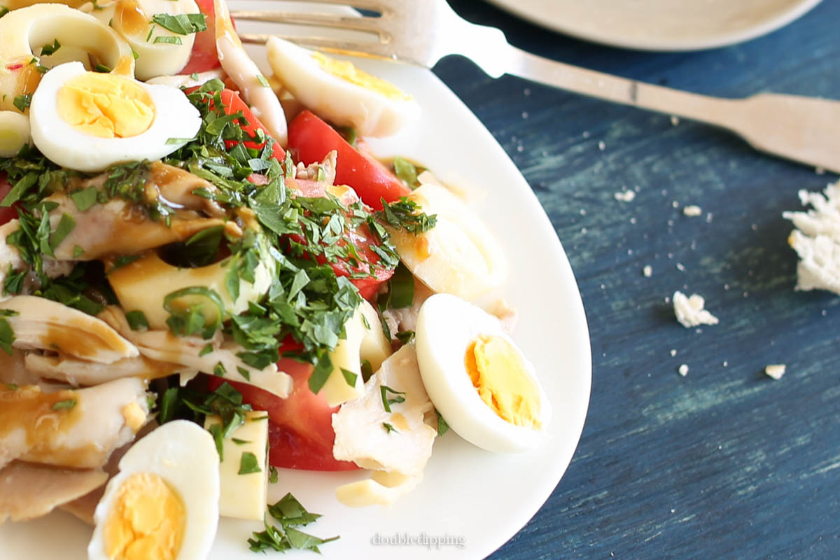 A left over chicken or the ready roasted from from your butcher is perfect for this summer salad