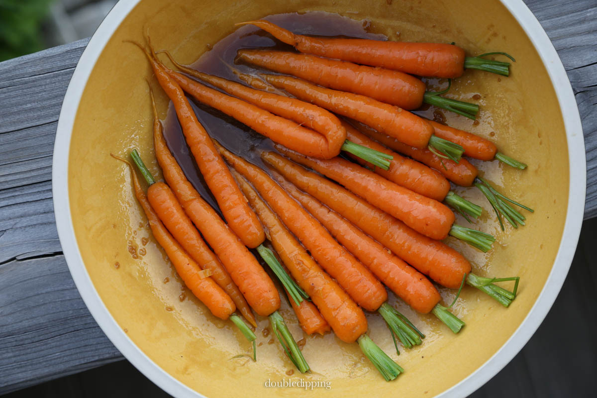 The carrots my marinate from 15 min to a couple of hours allowing you to prepare other dishes