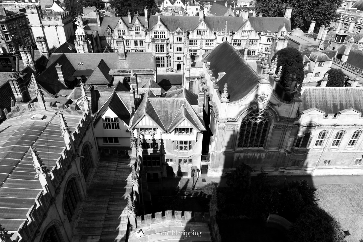 Shadow of St. Mary's Church tower, best view of Oxford from up high.