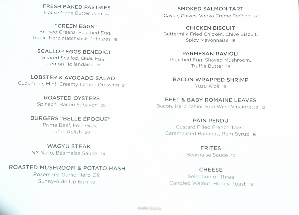 Brunch Menu of The Standard