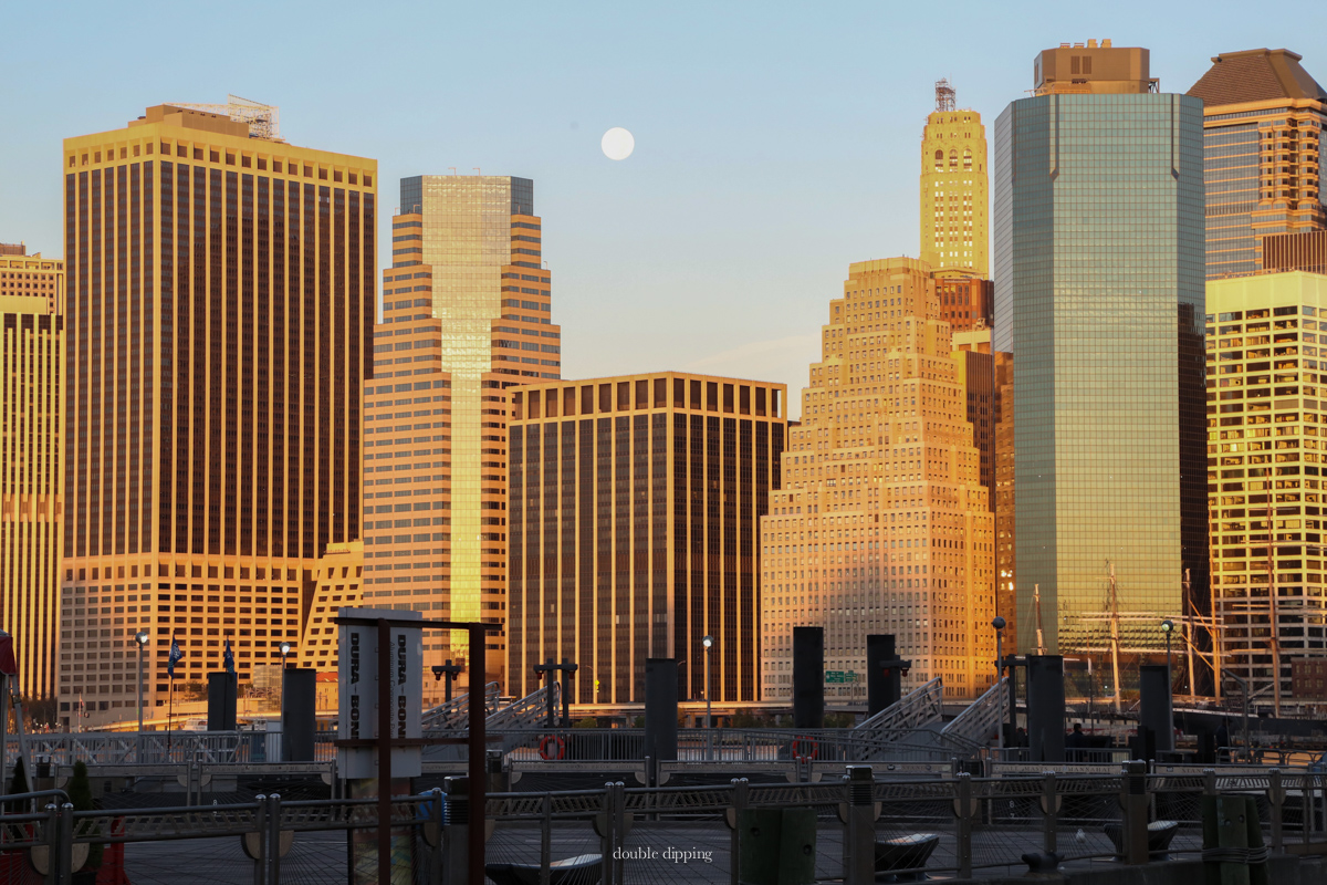 Manhattan at sunrise With Full Moon, unedited