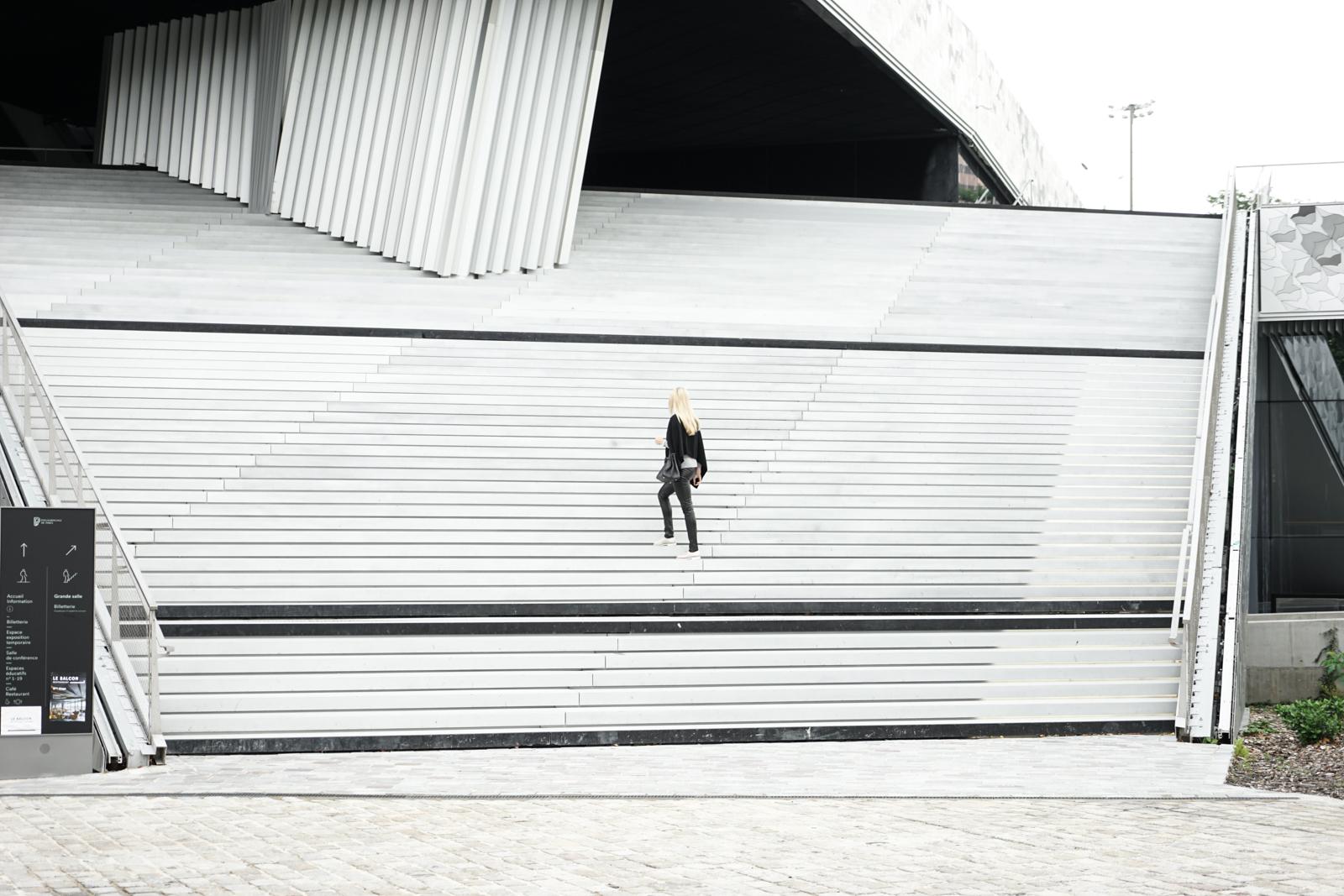 The grand stairs to the Philharmonie de Paris