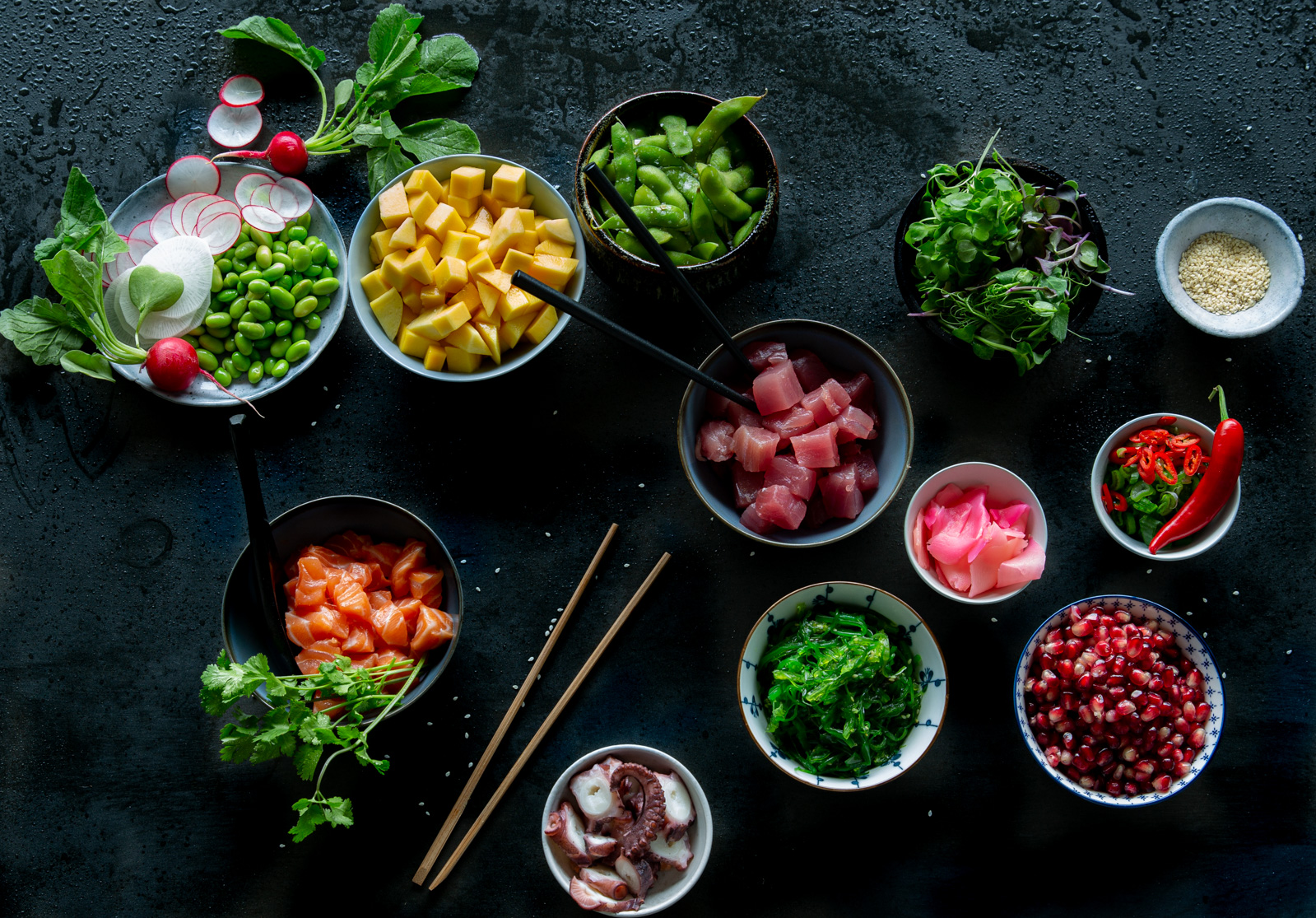 Fresh ingredients for poké bowls