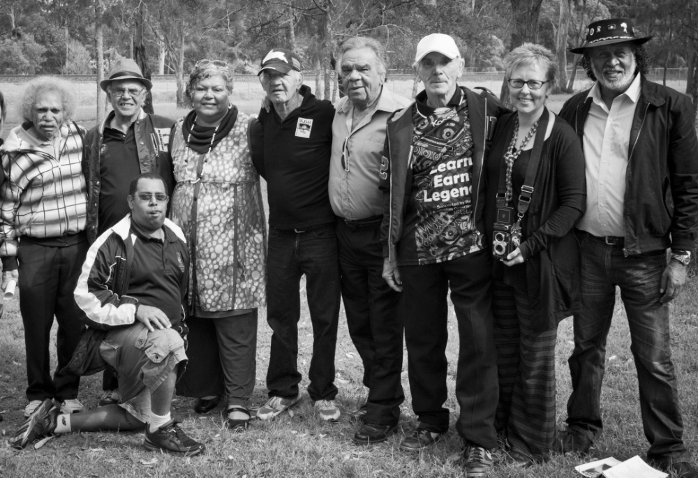 Sarah Barker with members of Kinchela Boys Home (KBH) Aboriginal Corporation and their supporters, Kempsey, NSW. Photo: Larissa Minniecon