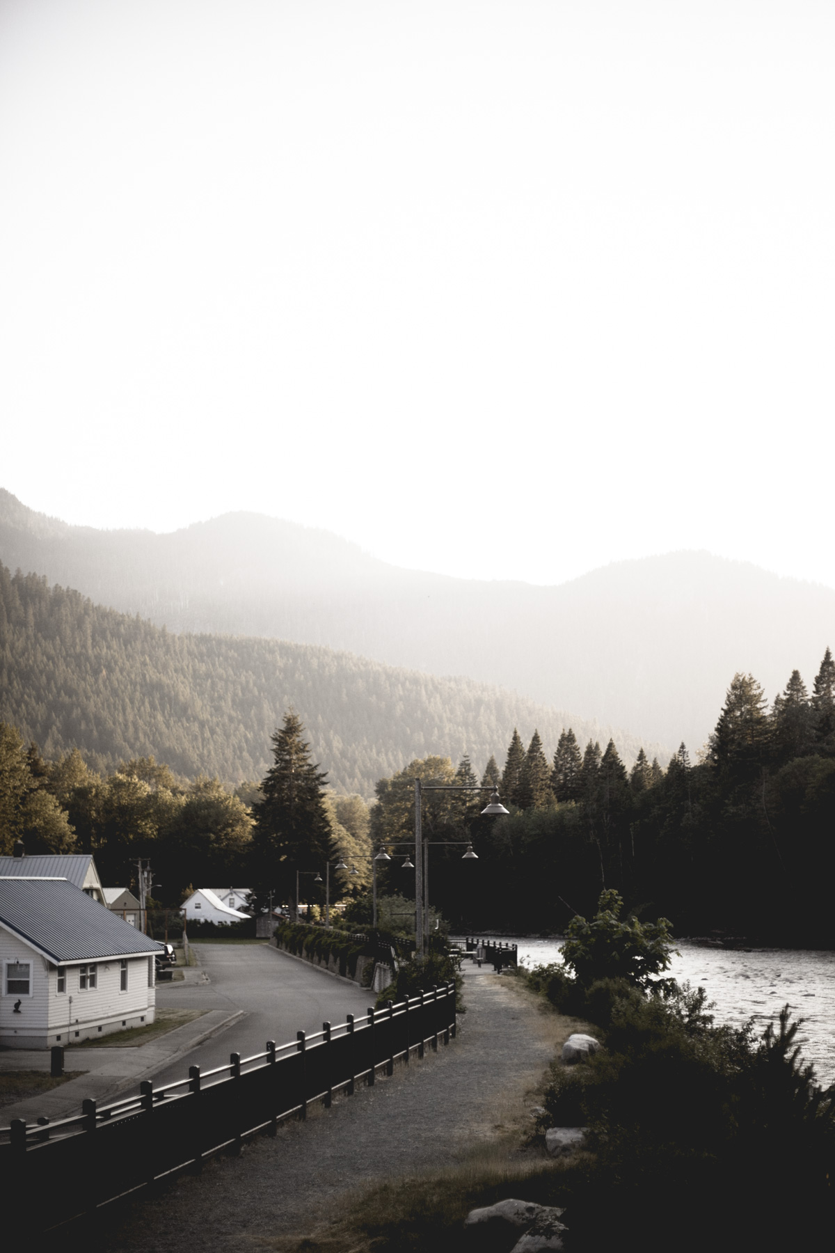 On the way back to Seattle, the sun was setting on the railroad town of Skykomish, population 205.