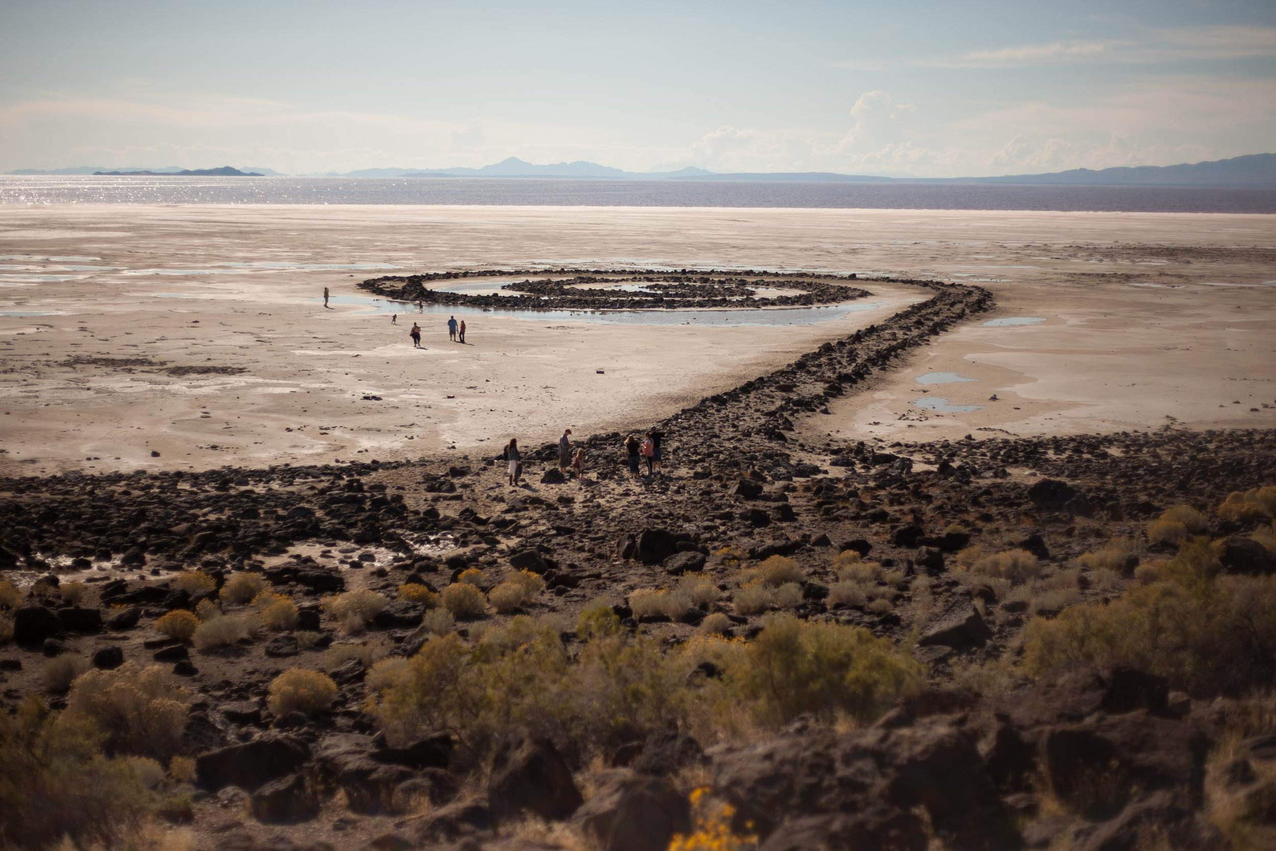 The Spiral Jetty, the central work of American sculptor  Robert Smithson  constructed in 1970 of the mud, salt crystals, and basalt rocks found in the area.