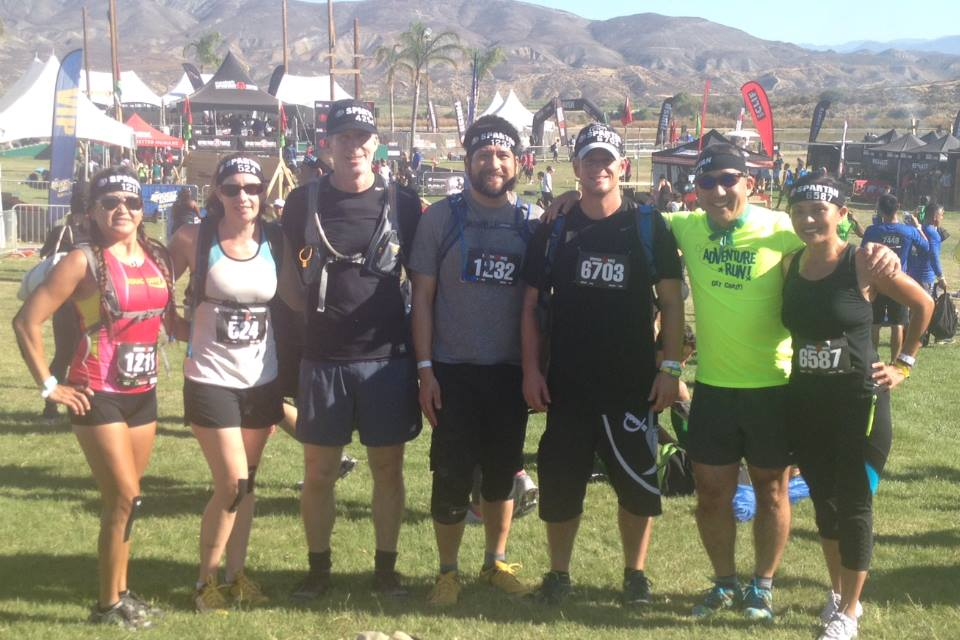 Our Spartan Beast finishers from left to right Mel, Jen B, Scott M, Brian, Joe S, Dr. Dave, and Gwen