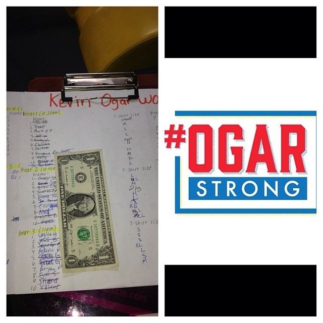 Joe S's son Augie donated this dollar a little over a year ago to Kevin Ogar's recovery fund