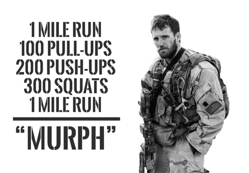 "n memory of Navy Lieutenant Michael Murphy, 29, of Patchogue, N.Y., who was killed in Afghanistan June 28th, 2005.  This workout was one of Mike's favorites and he'd named it ""Body Armor"". From here on it will be referred to as ""Murph"" in honor of the focused warrior and great American who wanted nothing more in life than to serve this great country and the beautiful people who make it what it is.  Partition the pull-ups, push-ups, and squats as needed. Start and finish with a mile run. If you've got a twenty pound vest or body armor, wear it."