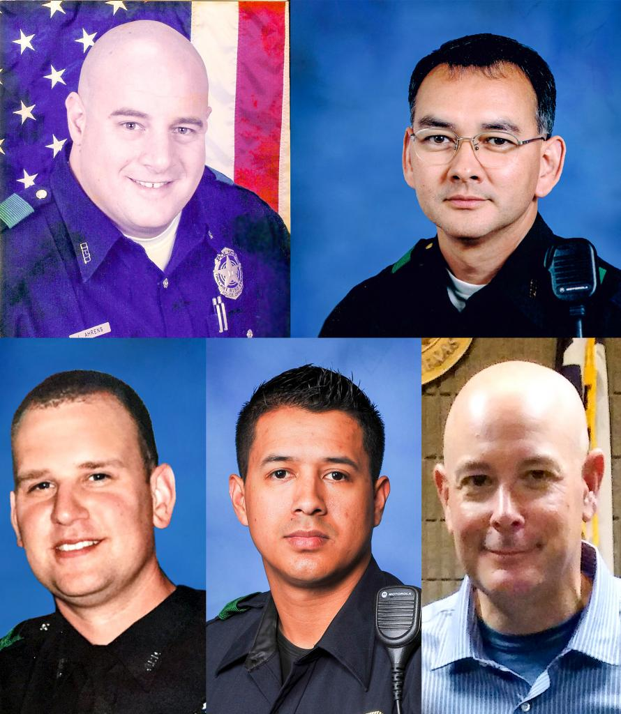 """On July 7, 2016, a sniper coordinated an ambush on a group of police officers in Dallas, Texas. Dallas 5 commemorates the five officers who lost their lives in the attack.  Dallas Police Officer Patricio """"Patrick"""" Zamarripa, 33, was a member of the force for six years and served active duty with the U.S. Navy for eight years and in the reserves for five. He is survived by his wife, Kristy, and daughter, Lyncoln Rae.  Dallas Police Senior Corporal Lorne Ahrens, 48, was a longtime member of the force. He served with the Los Angeles Police Department for 10 years before moving to Texas and joining the Dallas Police Department in 2002. He is survived by his wife, Katrina, and children, Sorcha and Magnus.  Dallas Police Officer Michael Krol, 40, was an eight-year veteran of the Dallas Police Department and a dedicated member of the Wayne County Sheriff's Office in Detroit, Michigan, before that. He is survived by numerous friends and family members.  Dallas Police Sergeant Michael Smith, 55, served as a U.S. Army Ranger before joining the police force in 1989. The 27-year veteran of the force is survived by his wife, Heidi, and daughters, Victoria and Caroline.  Dallas Area Rapid Transit Officer Brent Thompson, 43, served in the Marine Corps before joining the Corsicana Police Department and then the Dallas Police. He is survived by his wife, Emily, and many other friends and family members."""